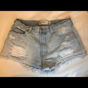 HIGH WAISTED Abercrombie distressed shorts
